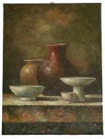 Obraz - olej na plátně zátiší s vázami - 30x40cm - zvětšit obrázek