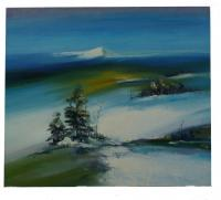 Obraz - olej na plátně - zimní ráno 80x70 cm - zvětšit obrázek