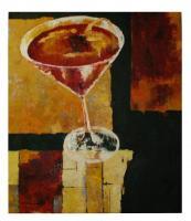 Obraz - olej na plátně - martini koktejl - 70x80 cm - zvětšit obrázek