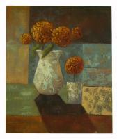 Obraz - olej na plátně - kytice oranžových hortensií - 50x60 cm - zvětšit obrázek