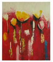 obraz - olej na plátně - tulipány při východu slunce - 50x60 cm - zvětšit obrázek