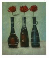 Obraz - olej na plátně - tři vázy s rudými tilipány - 50x60 cm - zvětšit obrázek