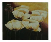 Obraz - olej na plátně - bílé květy máku - 60x50 cm - zvětšit obrázek