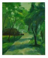Obraz - olej na plátně - jarní odpoledne v parku - 50x60 cm - zvětšit obrázek