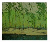 Obraz - olej na plátně - stromy na břehu řeky - 60x50 cm - zvětšit obrázek