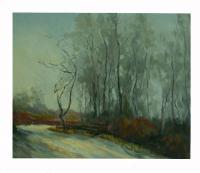 Obraz - olej na plátně - zmrzlá zimní krajina - 60x50 cm - zvětšit obrázek