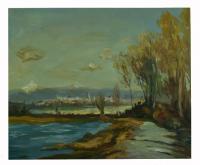 Obraz - olej na plátně - krajina za městem - 60x50 cm - zvětšit obrázek