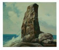 obraz - olej na plátně - skála v příboji - 60x50 cm - zvětšit obrázek