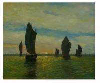 Obraz - olej na plátně - plachetnice při východu slunce - 60x50 cm - zvětšit obrázek