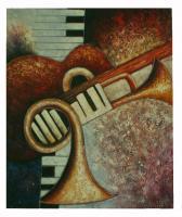 Obraz - olej na plátně - zátiší s hudebními nástroji - 50x60 cm - zvětšit obrázek