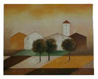 Obraz - olej an plátně - ráno na okraji města - 50x40 cm   - zvětšit obrázek