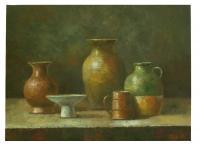 obraz - olej na plátně - zátiší s vázami - 40x30 cm - zvětšit obrázek