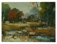 Obraz - olej na plátně - lesní potůček - 40x30 cm - zvětšit obrázek