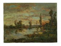 Obraz - olej na plátně - západ slunce u jezera - 40x30 cm - zvětšit obrázek