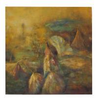 obraz - olej na plátně - indiánská obydlí - 89x89 cm - zvětšit obrázek