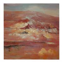 Obraz - olej na plátně - chrlící sopka - 80x80 cm - zvětšit obrázek