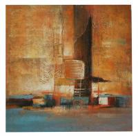 obraz - olej na plátně - město v taplých a studených barvách - 80x80 cm - zvětšit obrázek