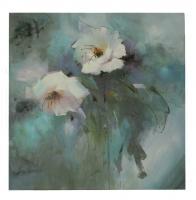 Obraz - olej na plátně - květy v dešti - 80x80 cm - zvětšit obrázek