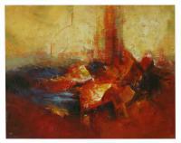 Obraz - olej na plátně - vánoční svícen - 90x70 cm - zvětšit obrázek